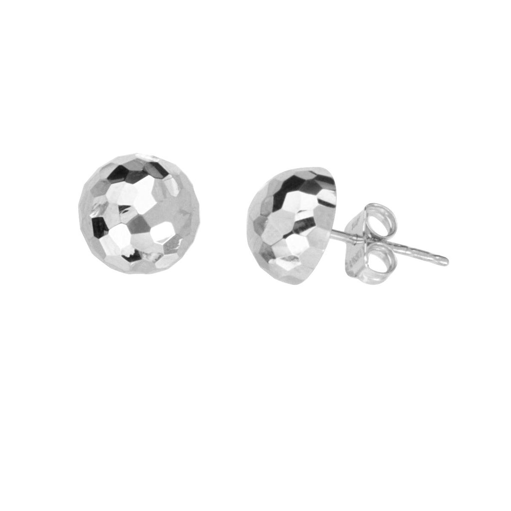 14k White Gold Half Ball Stud Earrings Mirror Disco Diamond-cut Texture