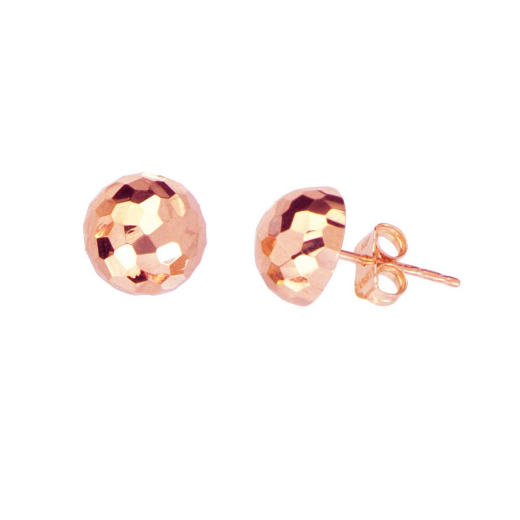 14k Rose Gold Half Ball Stud Earrings Mirror Disco Diamond-cut Texture