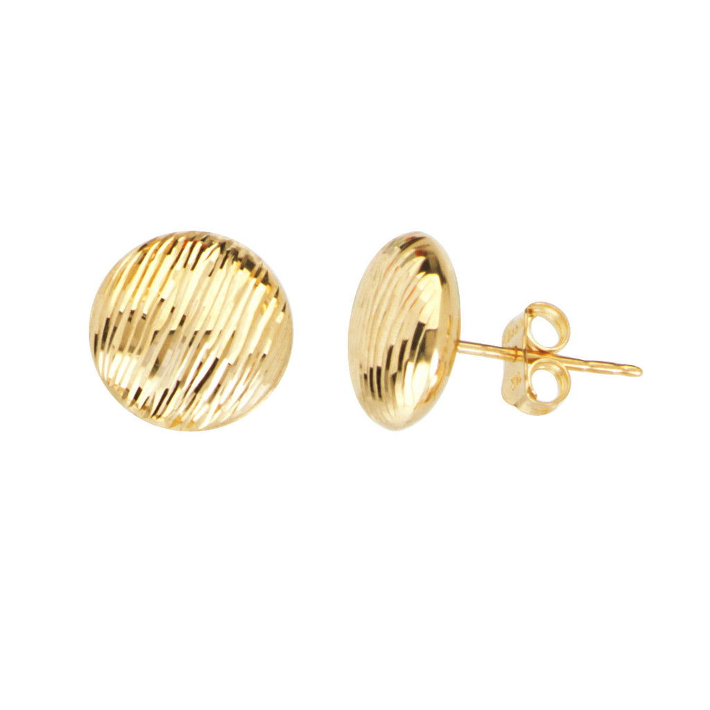 14k Yellow Gold Flat Bead Stud Earrings with Stripe Bark Texture