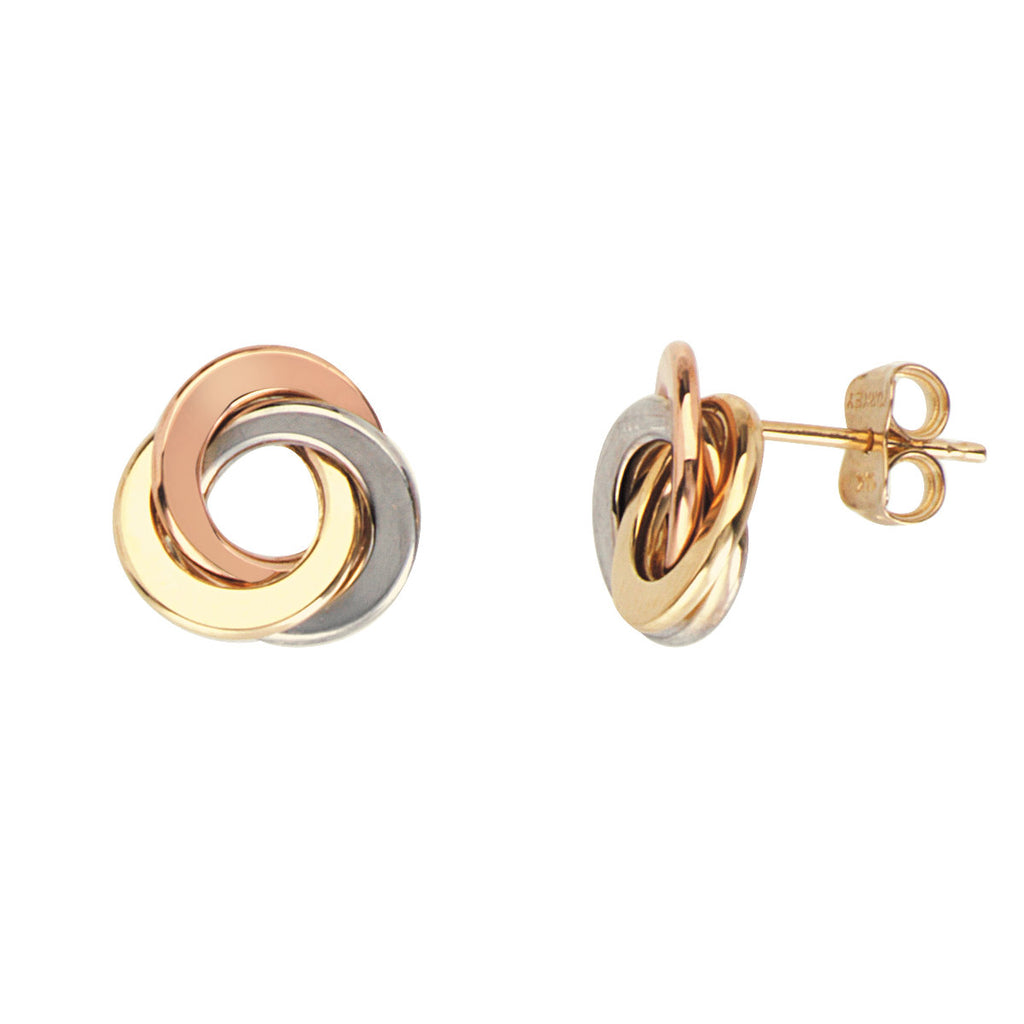 14k Gold Three-tone Love Knot Earrings 12mm
