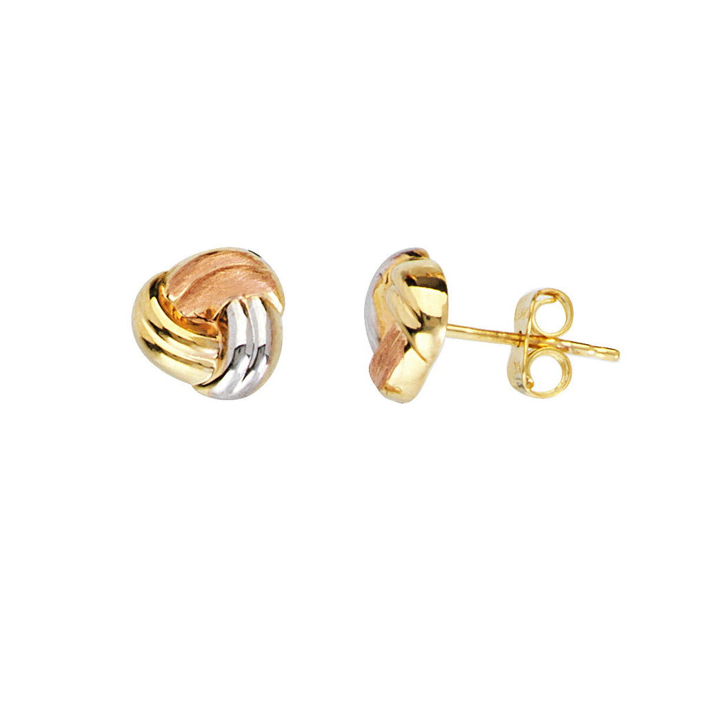 14k Gold Three-tone Baby Love Knot Earrings 8mm