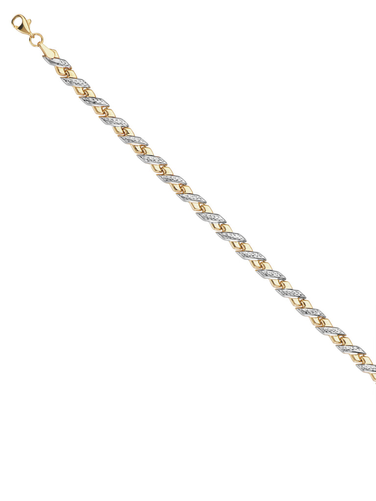 14k White and Yellow Gold Baby X Stampato Style Bracelet