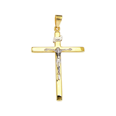 14k Two-tone Gold Flat Crucifix Pendant with INRI Sign on Cross, Pendant Only