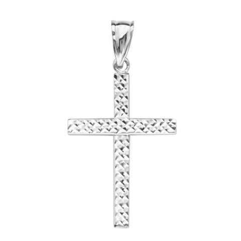 14k White Gold Cross Reversible Polished Finish or Diamond-cut, Pendant Only