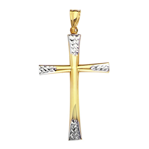 14k Two-tone Gold Cross with Diamond-cut White Gold Ends, Pendant Only