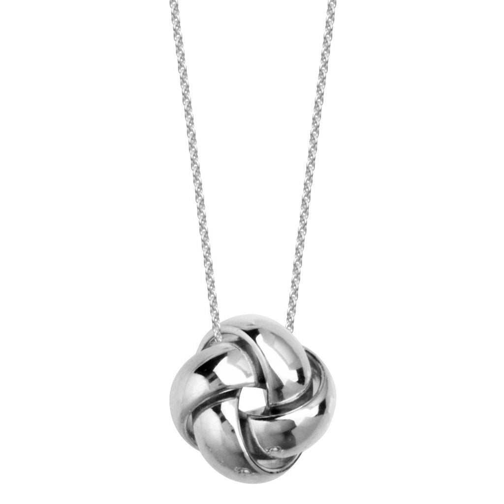 14k White Gold Love Knot Necklace Puffy with Shiny Finish, Adjustable Length