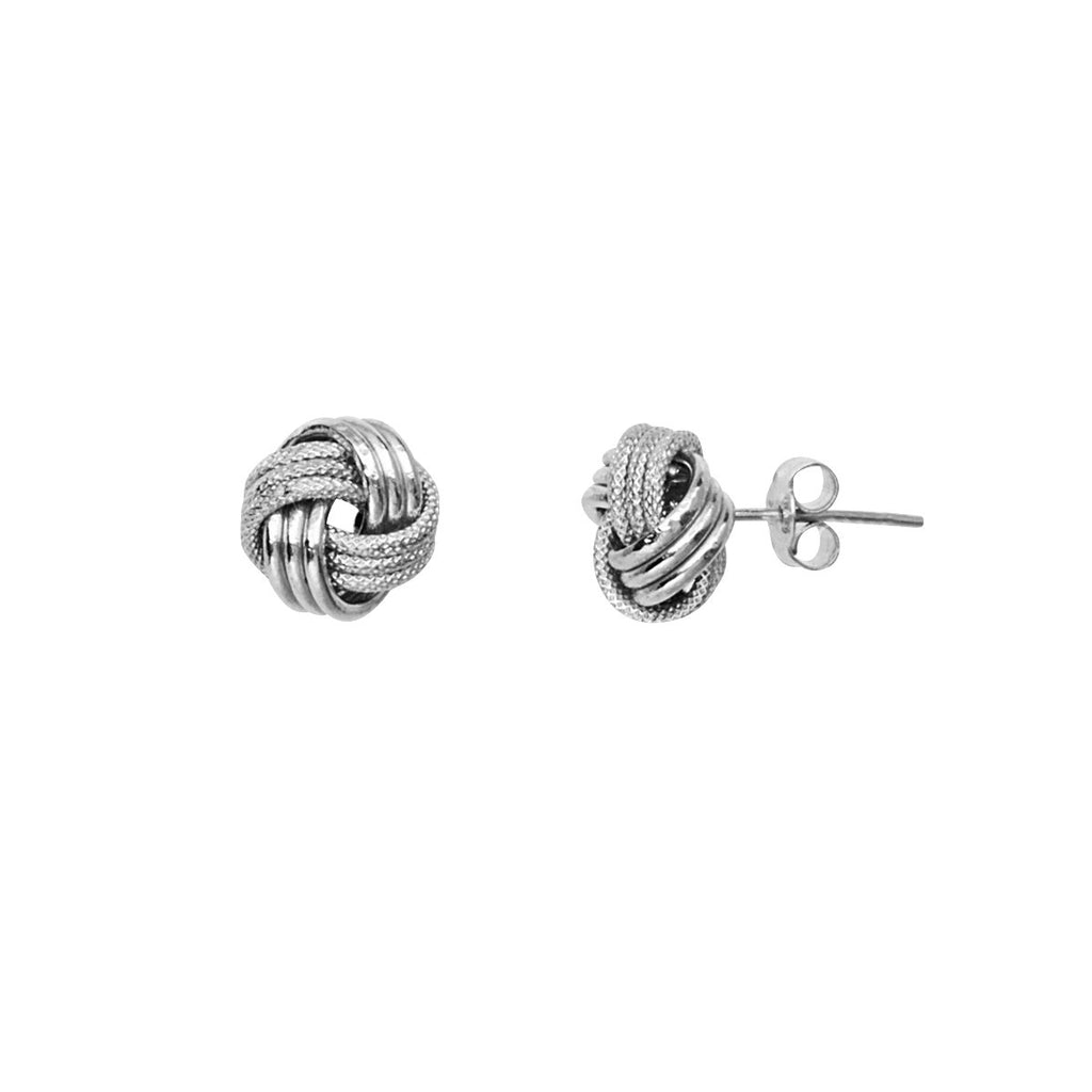 14k White Gold Love Knot Stud Earrings 9mm Textured and Shiny Finish