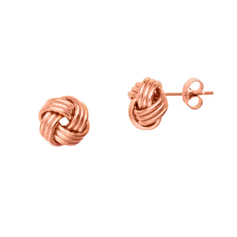 14k Rose Gold Love Knot Stud Earrings 9mm Three Row with Shiny Finish
