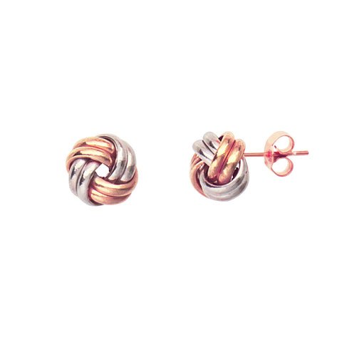 14k Two Tone White and Rose Gold Two Row Love Knot Earrings 8mm