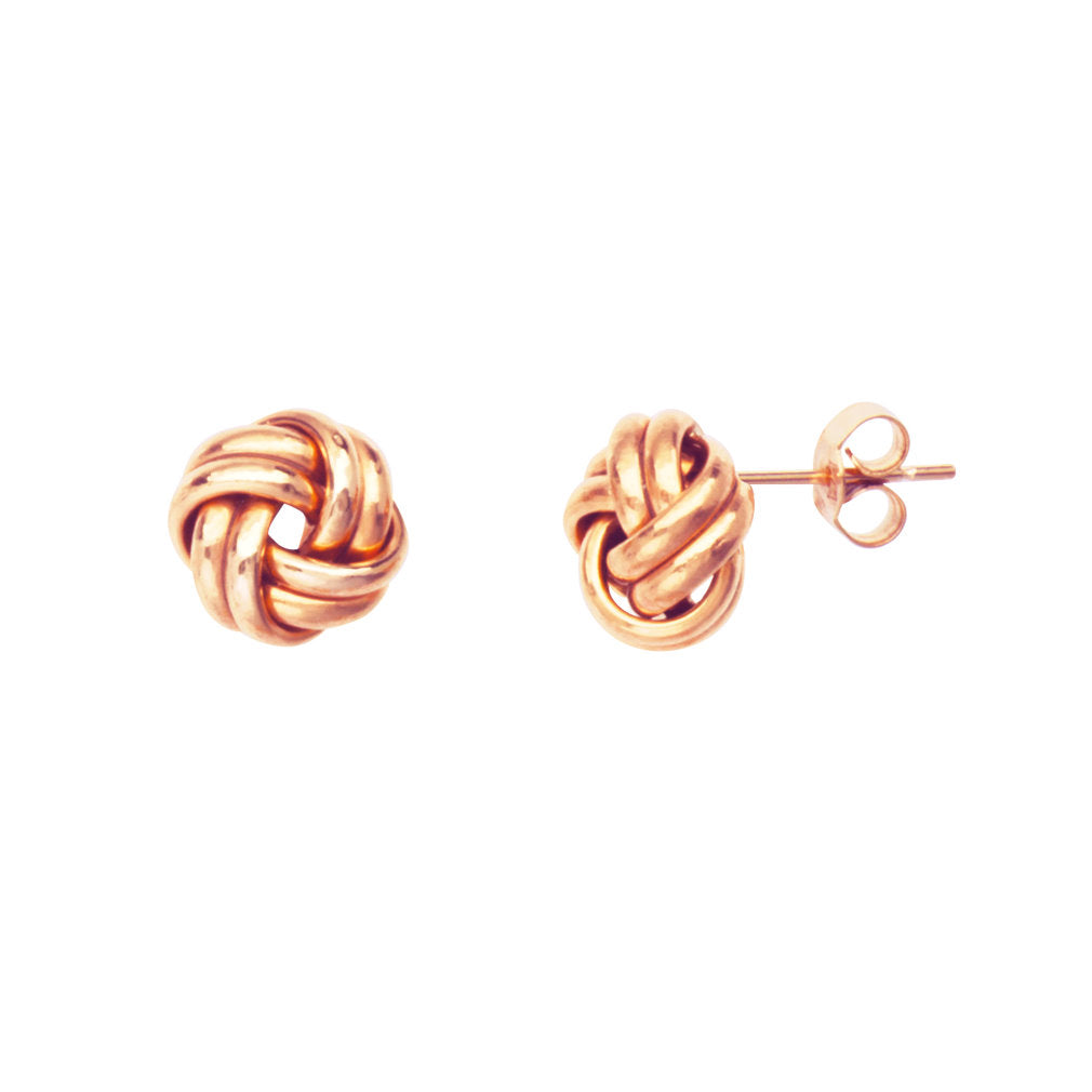 14k Rose Gold Two Row Love Knot Earrings 8mm