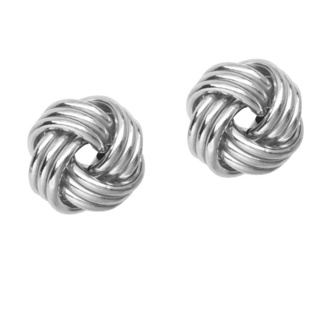14k White Gold Love Knot Stud Earrings 12mm Three Row with Shiny Finish