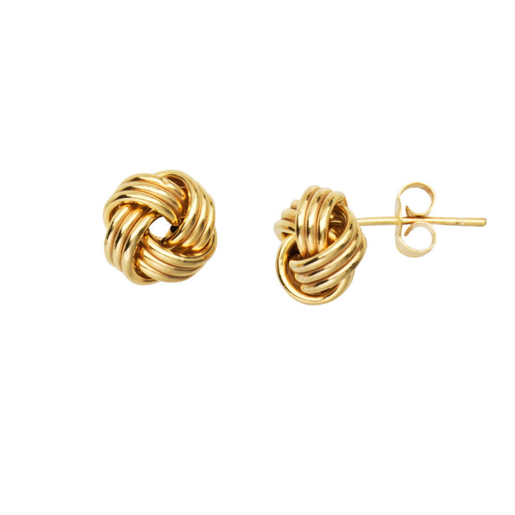 14k Yellow Gold Love Knot Stud Earrings 12mm Three Row with Shiny Finish