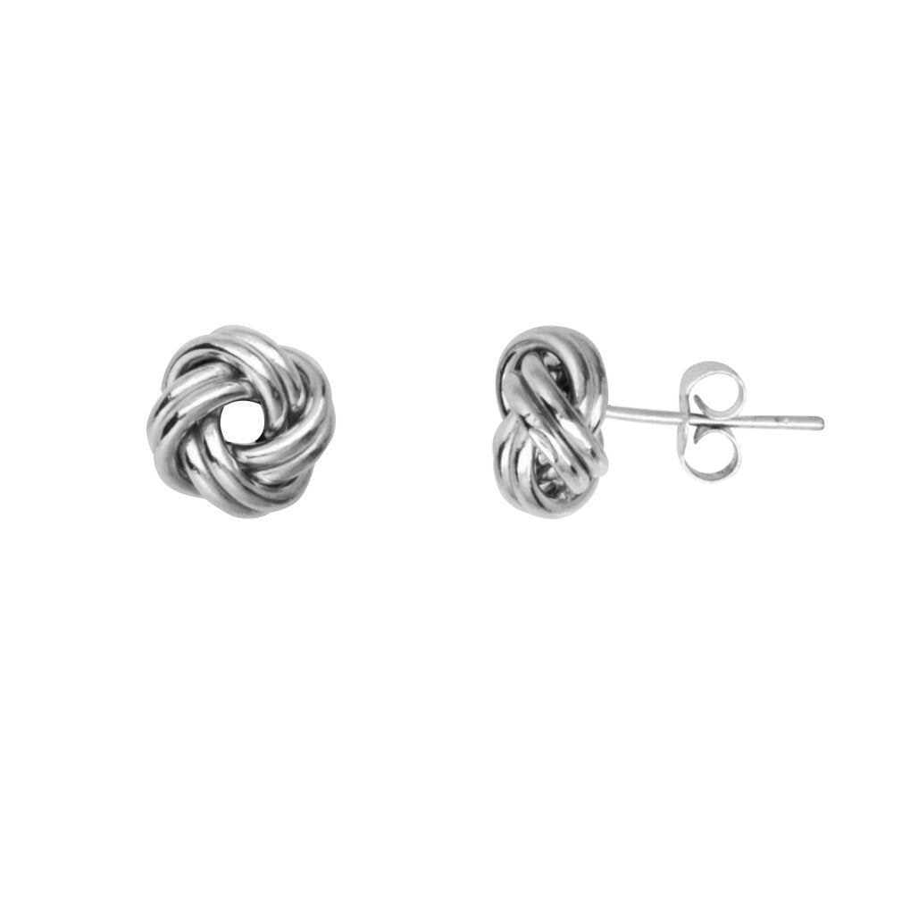 14k White Gold 2-row Love Knot Stud Earrings 9mm Open Center Polished Loops