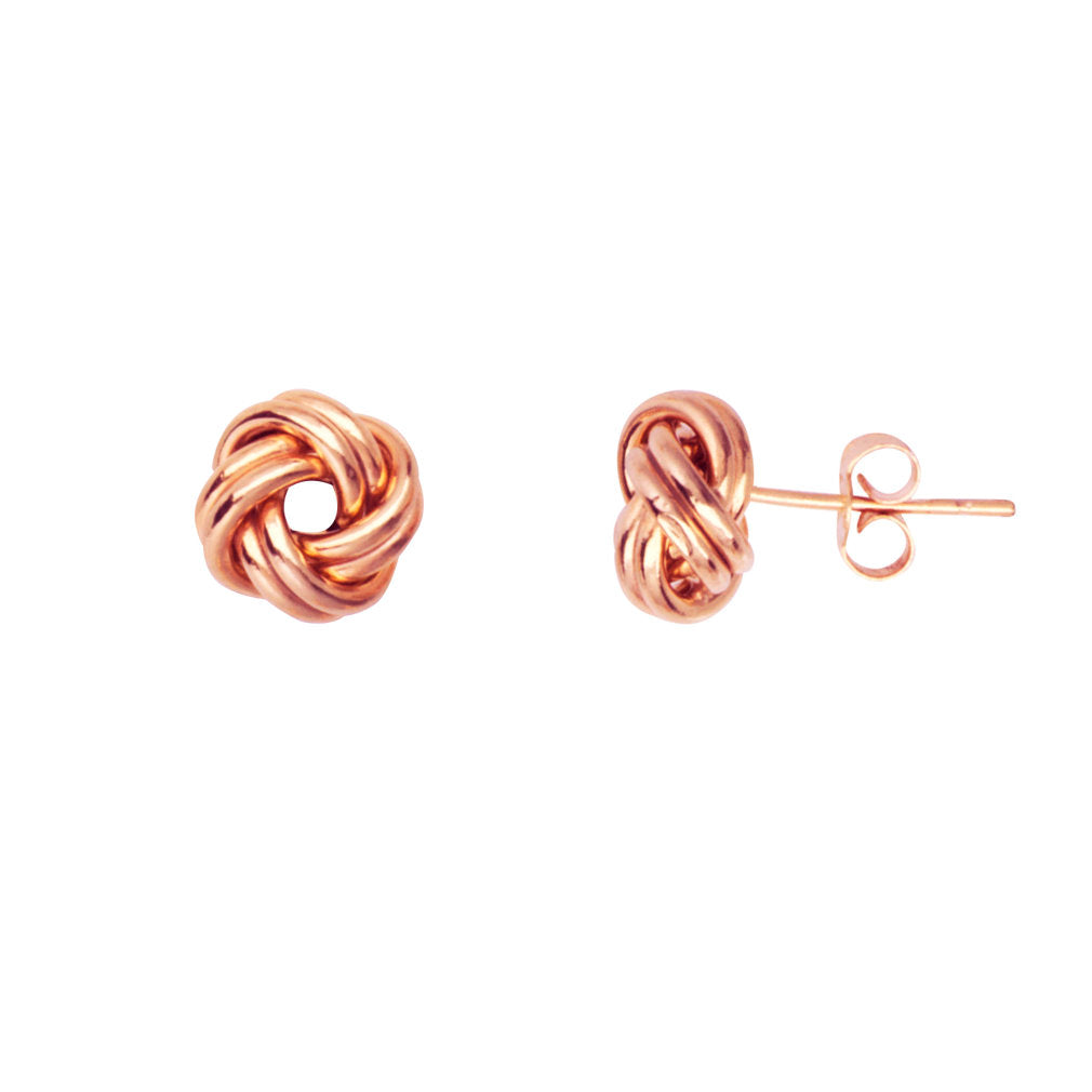 14k Rose Gold 2-row Love Knot Stud Earrings 9mm Open Center Polished Loops