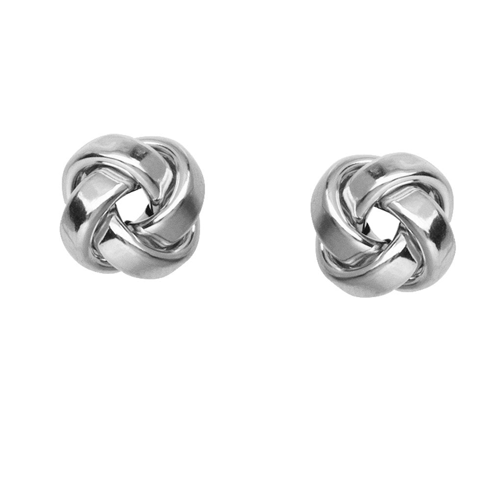 14k White Gold Love Knot Stud Earrings 10mm Square Tube with Shiny Finish