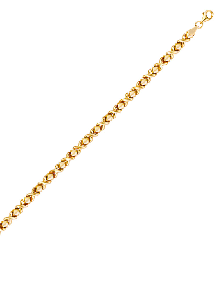 14k Yellow Gold Stampato Bracelet X and O Links