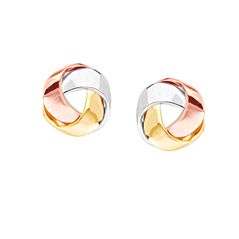 Three Tone 14k White, Rose and Yellow Gold Earrings Love Knot Flat Ribbon Style