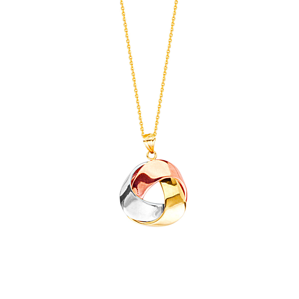 Three Tone 14k White, Rose and Yellow Gold Love Knot Flat Ribbon Style Necklace
