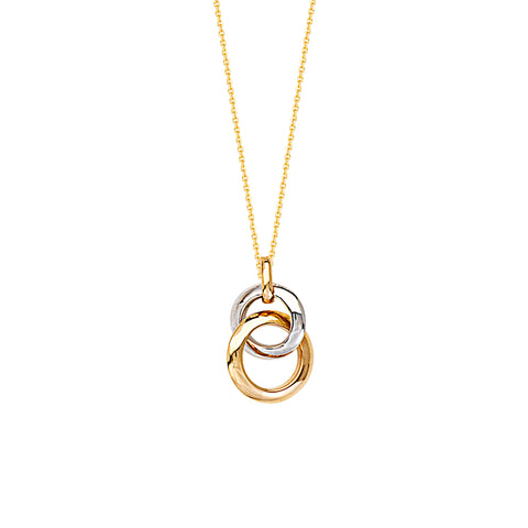 Two Tone 14k White and Yellow Gold Necklace Interlocking Rings