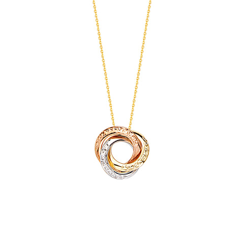 Three Tone 14k Gold White, Rose and Yellow Love Knot Textured Style Necklace