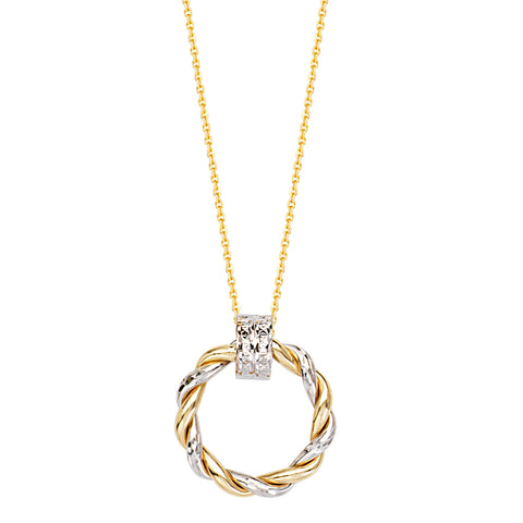 Two Tone 14k White and Yellow Gold Necklace Braided Round Doorknocker Style