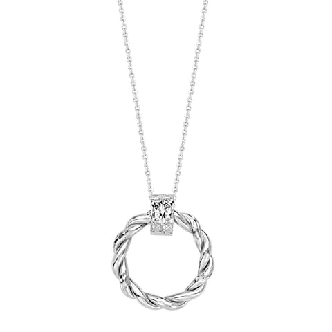 Two Tone 14k White Gold Necklace Braided Round Doorknocker Style