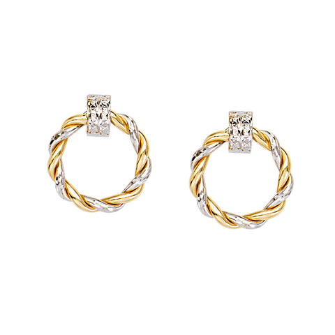 14k White and Yellow Gold Braided Round Doorknocker Hoop Post Earrings