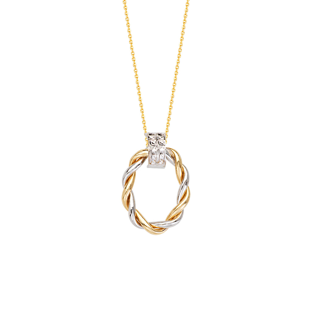14k White and Yellow Gold 2-tone Necklace Braided Oval Doorknocker Style Pendant