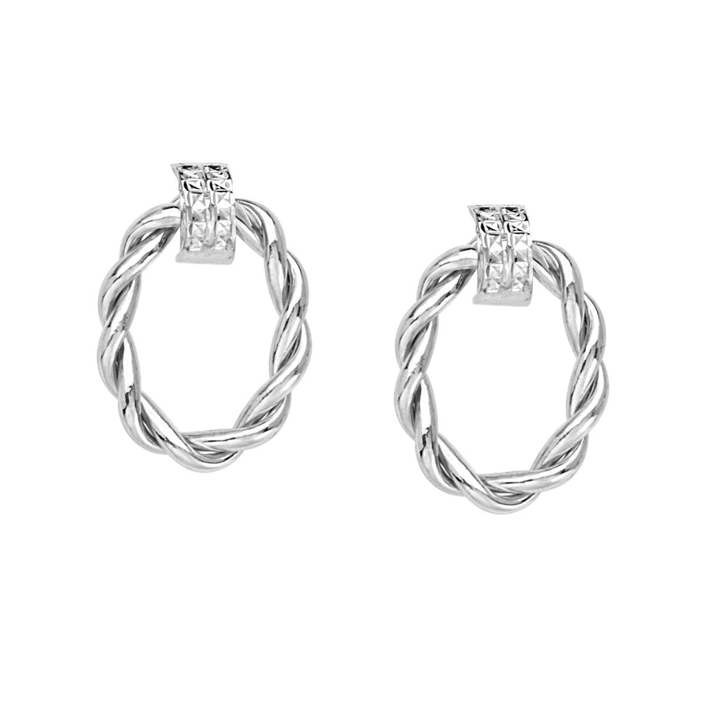 14k White Gold Braided Oval Doorknocker Hoop Post Earrings