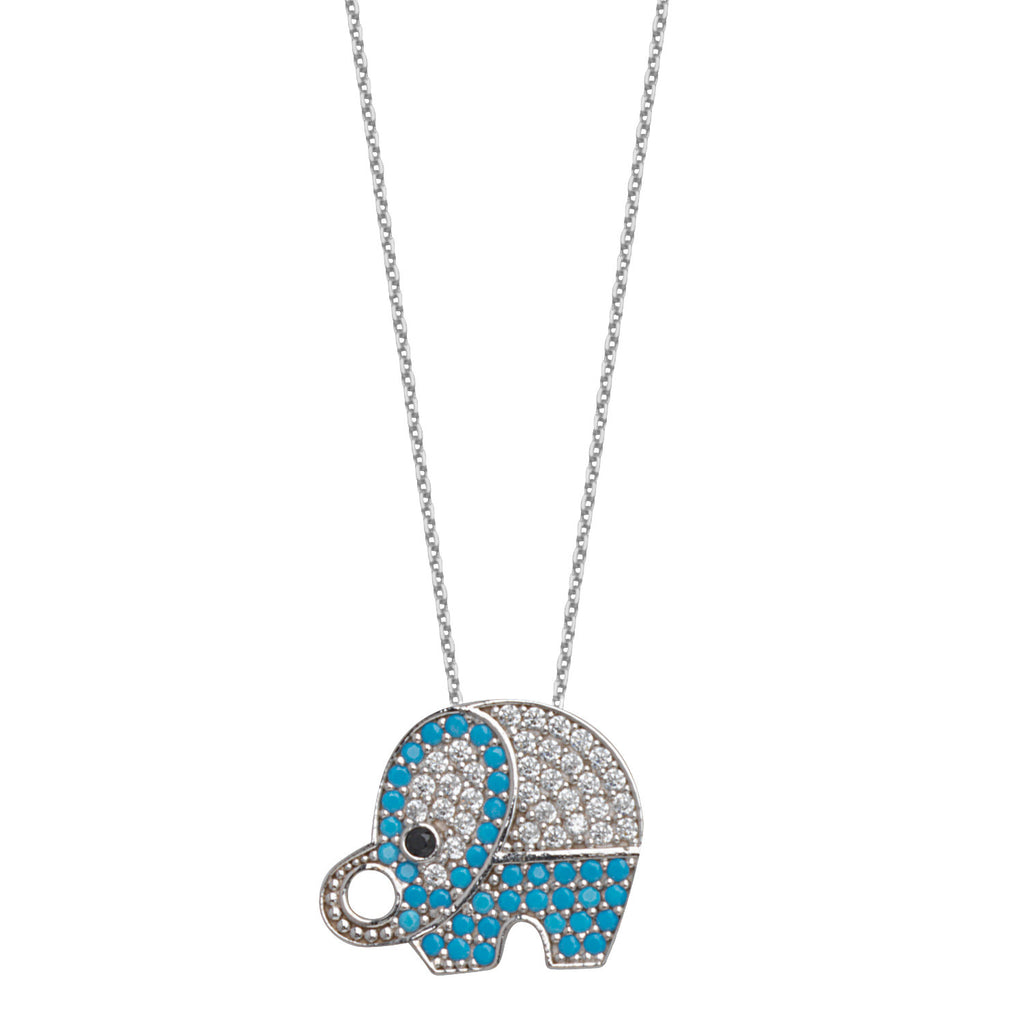 Elephant Necklace 14k White Gold with Nano Turquoise Cubic Zirconia
