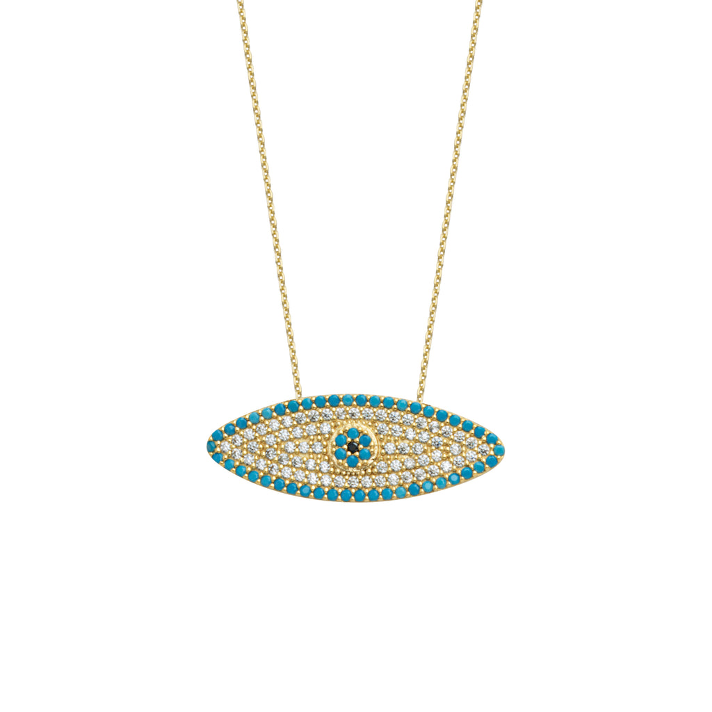 Elongated Evil Eye Necklace 14k Yellow Gold with Nano Turquoise Cubic Zirconia