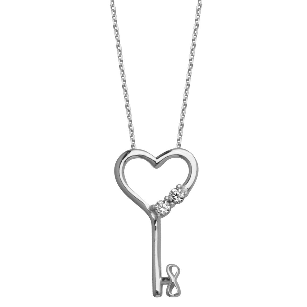 Heart Skeleton Key Necklace 14k White Gold with Cubic Zirconia