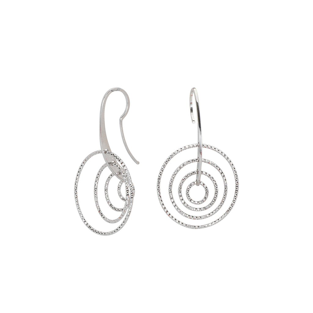 3D Cascade Earrings Graduated with Earwire Diamond-cut Rhodium on Sterling Silver