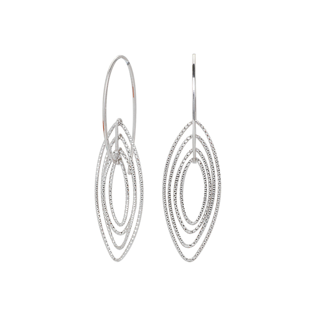 3D Cascade Earrings Graduated Diamond-cut Marquise Rhodium on Sterling Silver