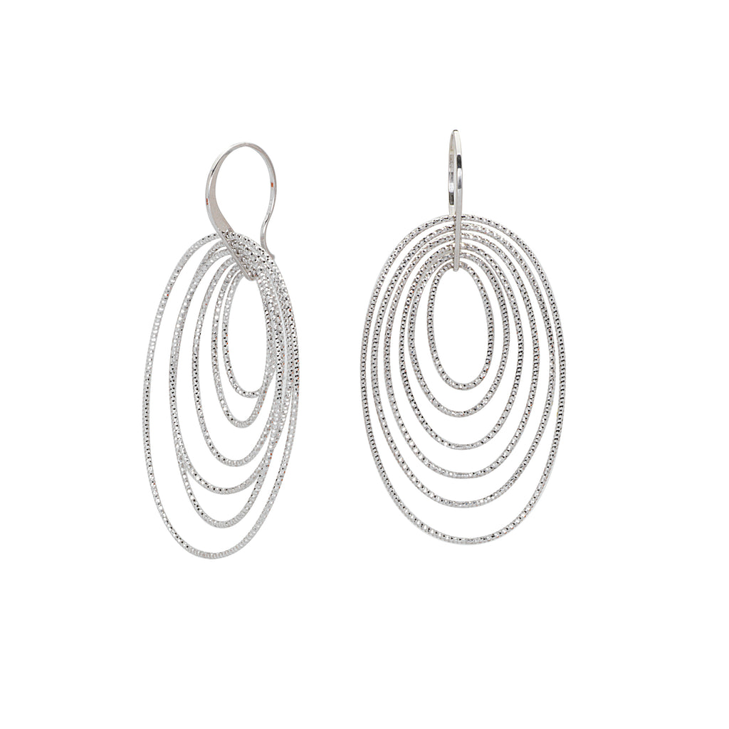 3D Cascade Earrings Graduated Oval Diamond-cut Rhodium on Sterling Silver