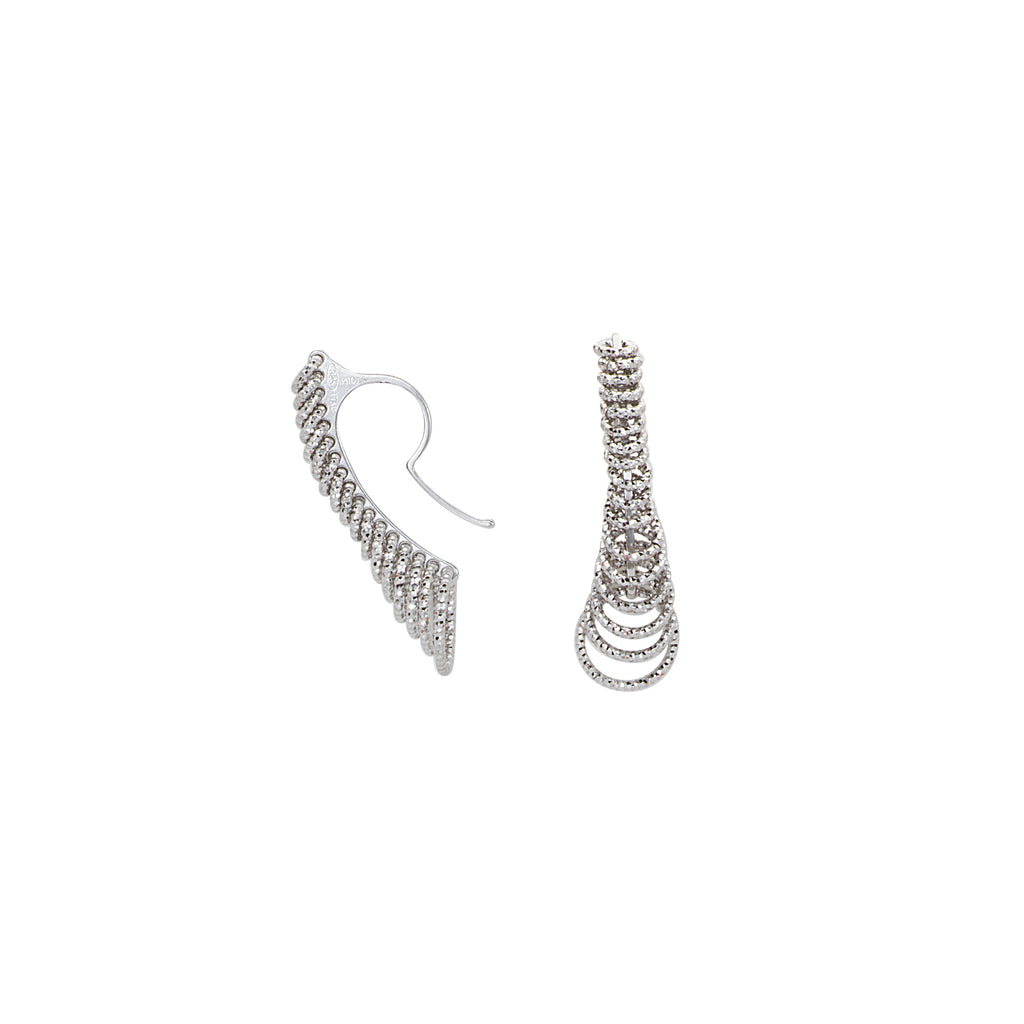 3D Cascade Earrings Graduated Size Diamond-cut Circles Rhodium on Sterling Silver
