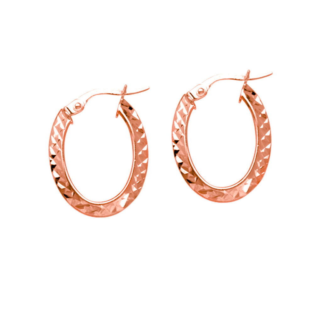 14k Rose Gold Crystal-diamond-cut Hoop Earrings with Click Post