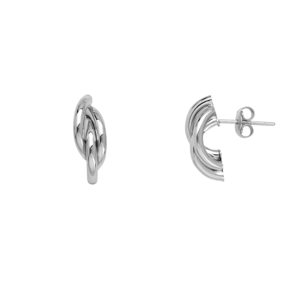 14k White Gold Braided Hoop Earrings Post Stud Drop