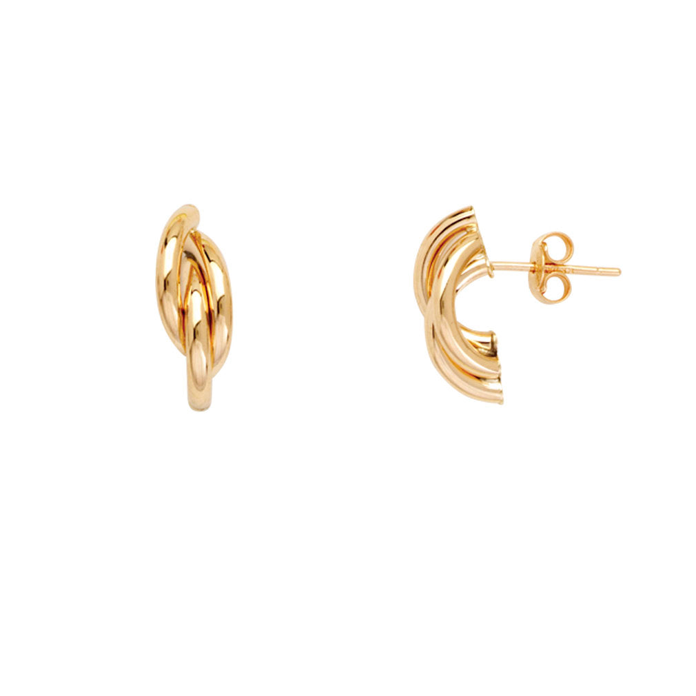14k Yellow Gold Braided Hoop Earrings Post Stud Drop