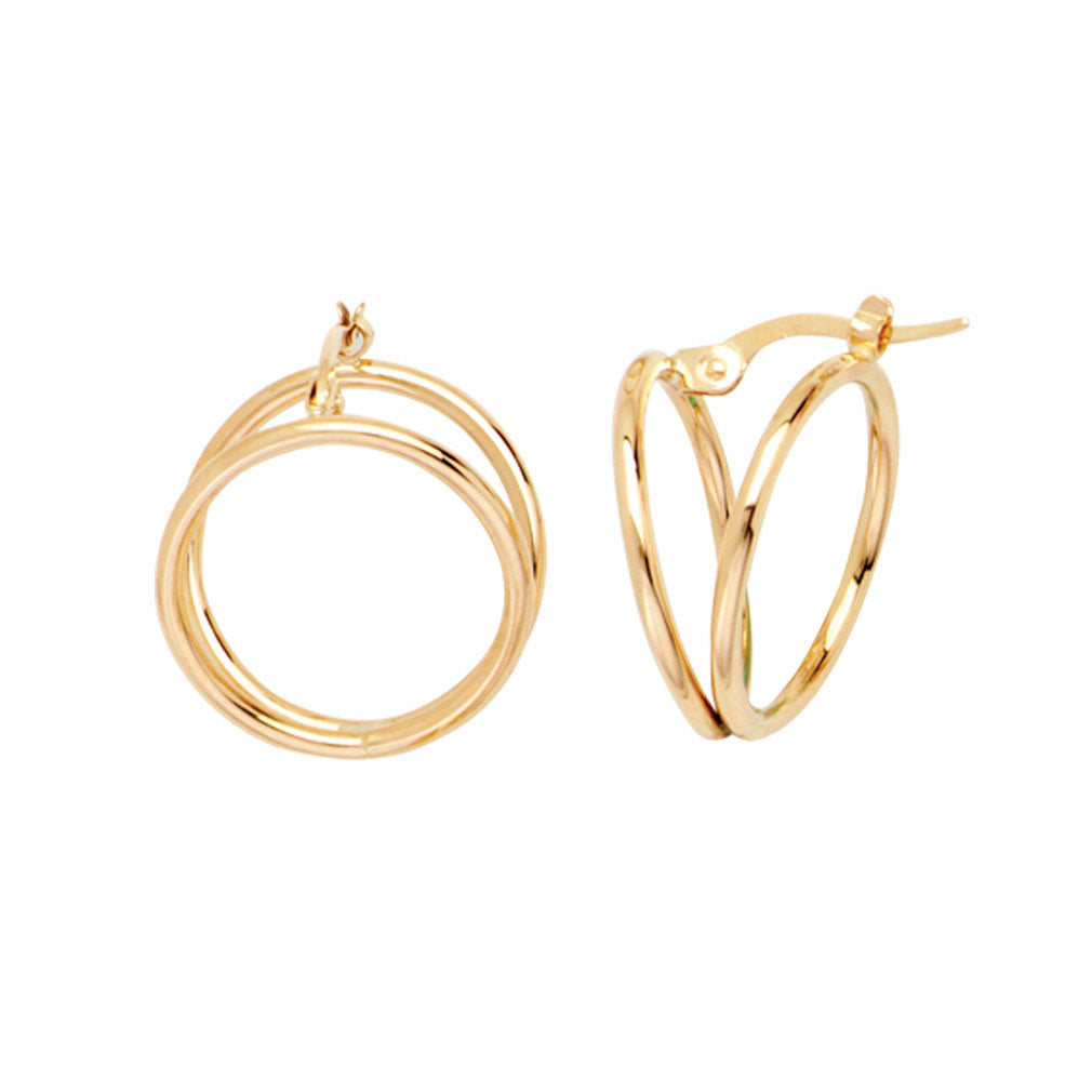 14k Yellow Gold Double Ring Hoop Earrings with Click Post