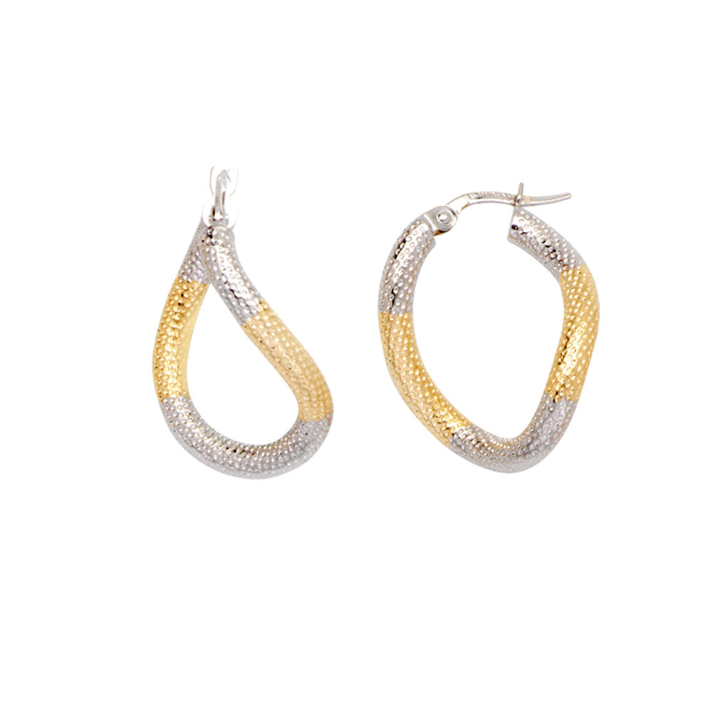 14k Two-tone White and Yellow Gold Textured Twisted Hoop Earrings 20mm