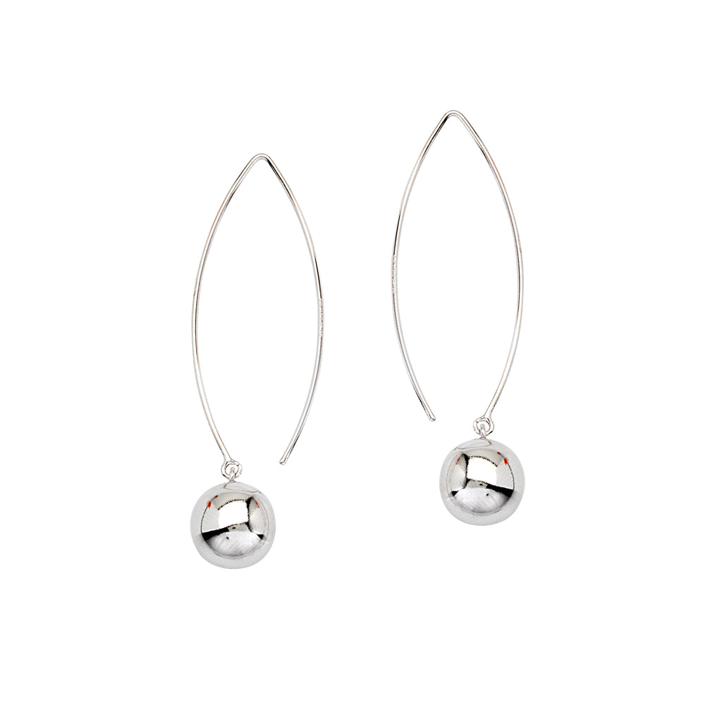 Polished Ball Earrings with Curved Wire Threader Rhodium on Sterling Silver