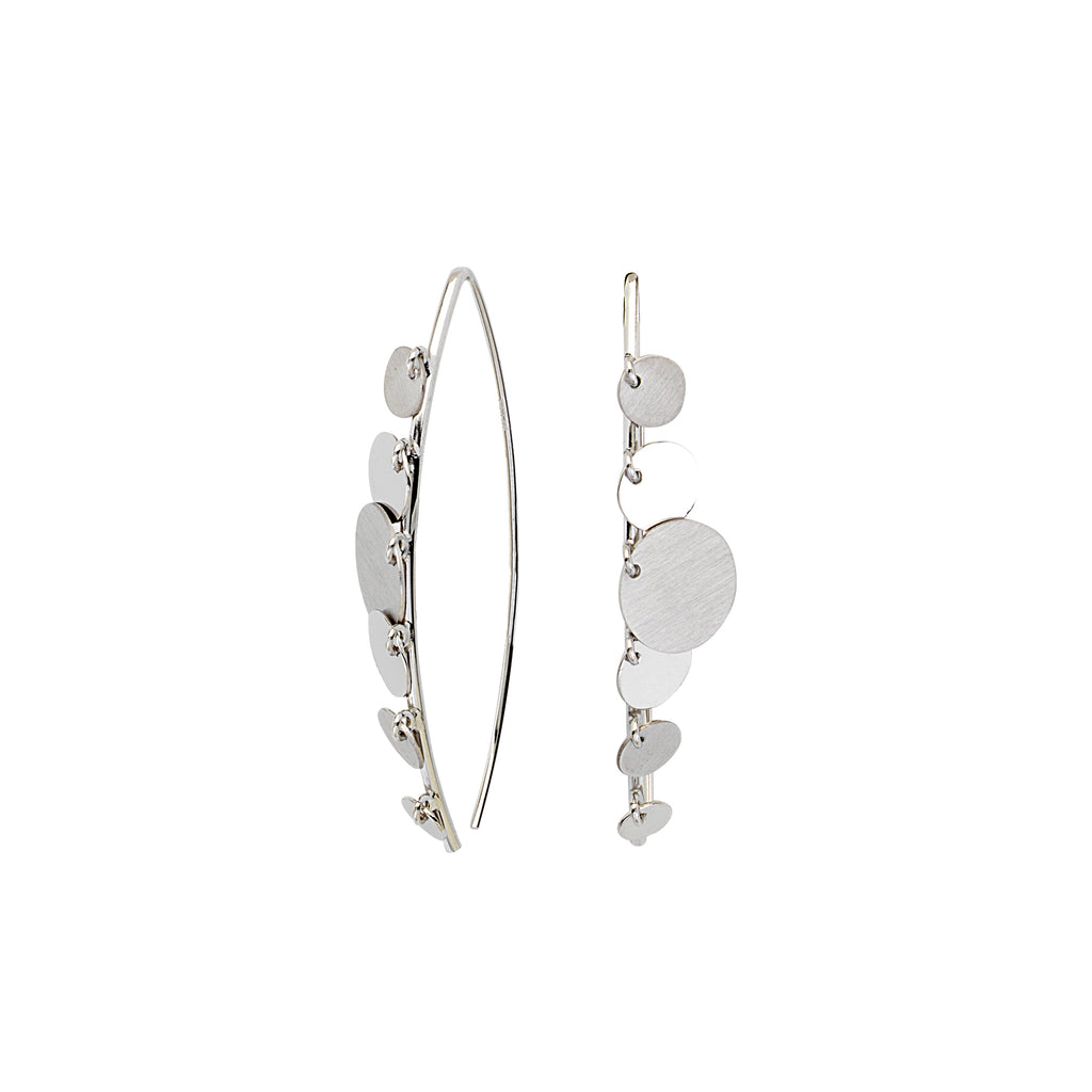 Curved Wire Threader Earrings Graduated Discs Rhodium on Sterling Silver