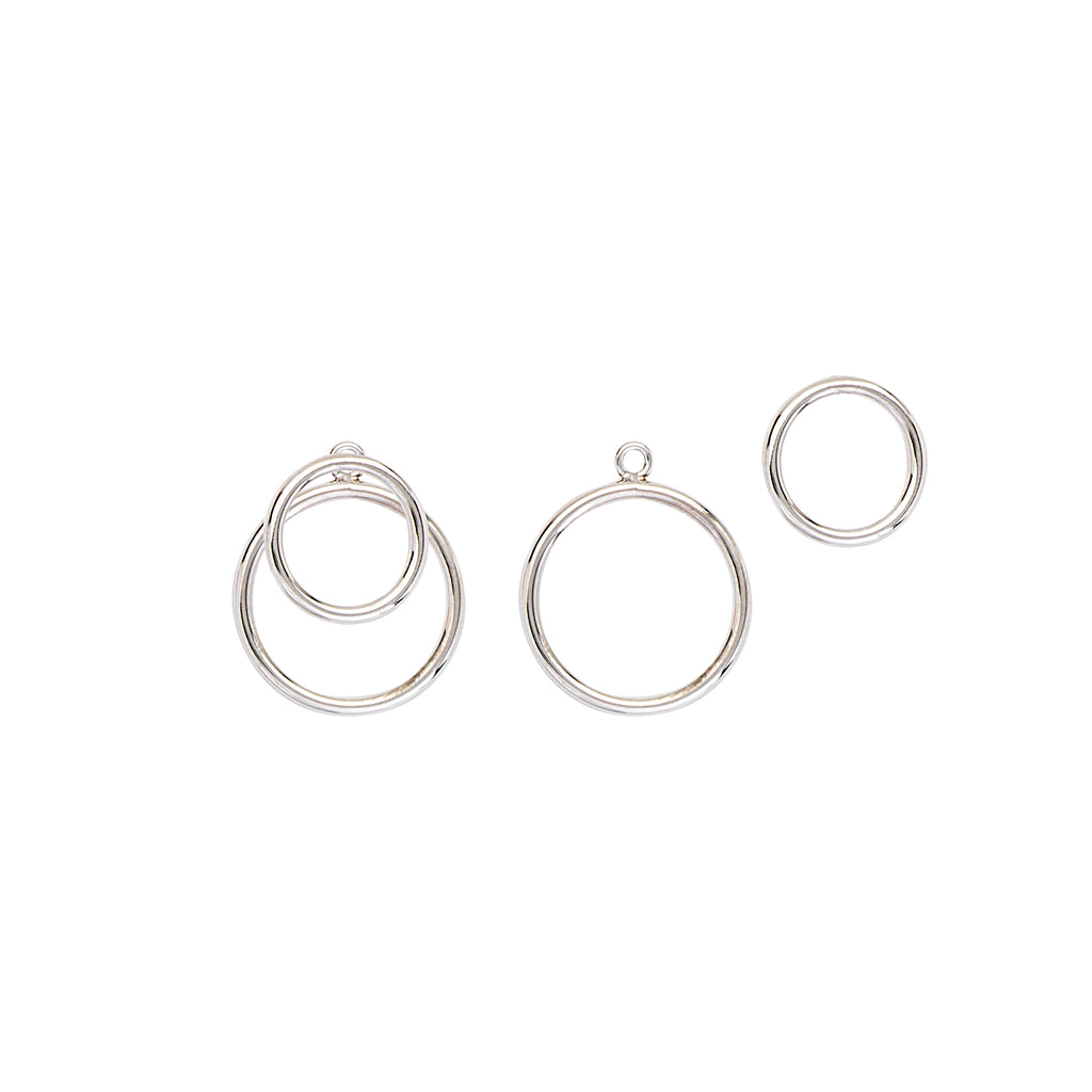 Double Open Circle Earrings Rhodium on Sterling Silver