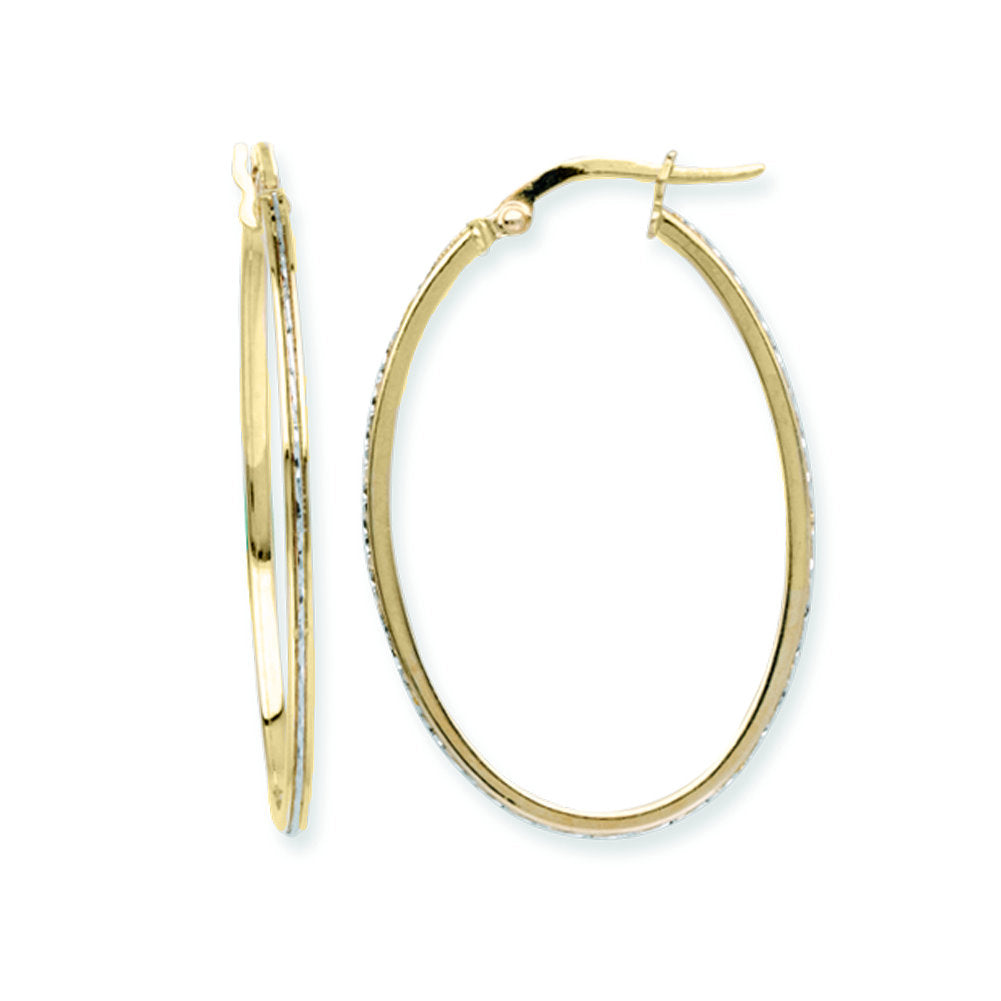 14k Two-tone Yellow and White Gold Large Oval Hoop Earrings 23x35mm