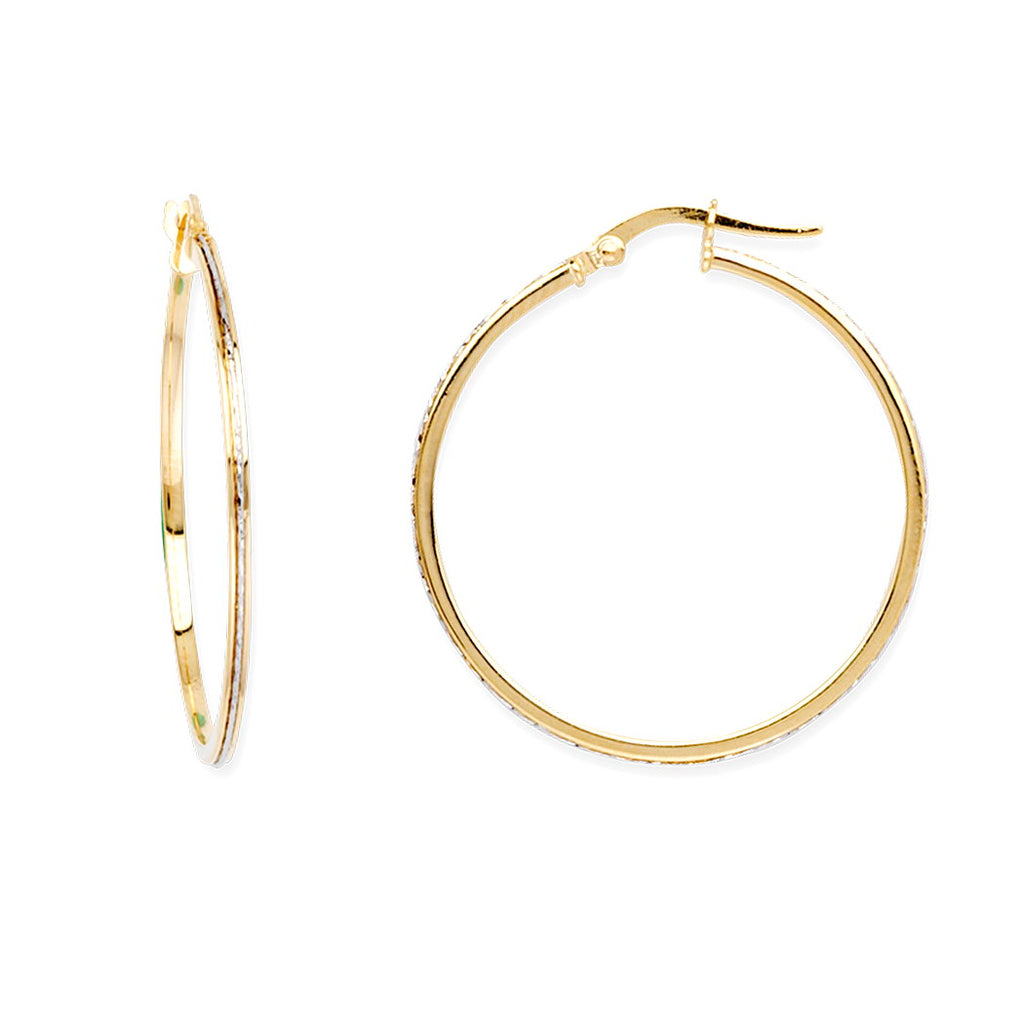 14k Two-tone Yellow and White Gold Round Hoop Earrings 30mm