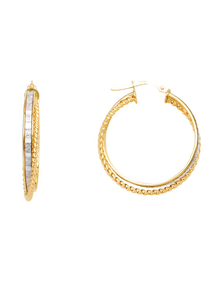 14k Yellow Gold Double Round Hoop Earrings Rope and Sparkle LightZ Collection