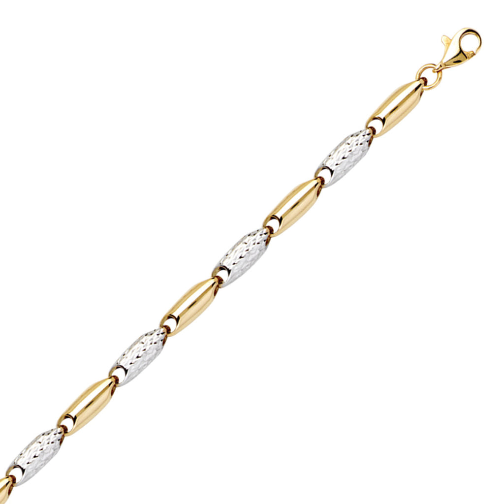 14k Two-tone White and Yellow Gold Link Bracelet