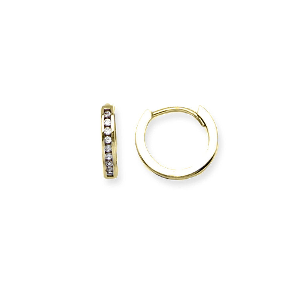 14K Yellow Gold Polished Huggie Hoop Earrings 10mm with Cubic Zirconia