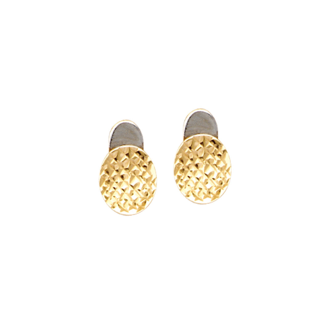 14k Two-tone Yellow and White Gold Quilt Design Button Earrings Diamond-cut